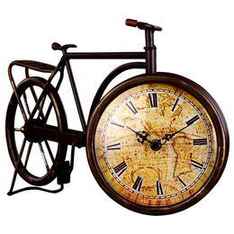 Wholesale Garden Clocks - Wholesale-European Retro Iron Bicycle Desk Clock European Garden Clock Pastoral Style Table Clock