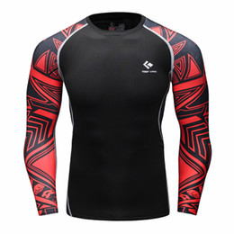 Wholesale Muscle Long Sleeve Shirt - Wholesale- Muscle Men Compression Tight Skin Shirt Long Sleeves 3D Prints Rashguard Fitness Base Layer Weight Lifting Male Tops Wear