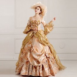 Wholesale Costumes Carnival Medieval - 2016 Royal Deep Red Floral Print Victorian Ball Gowns Hand made Marie Antoinette Costume For Women