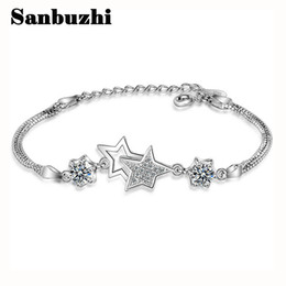 Wholesale Point Ring - Sanbuzhi Brand Fashion Adjustable Five-pointed Silver Bracelet With Luxury Zircon For Women Girls Party Gift Brand Fine Jewelry ZB02