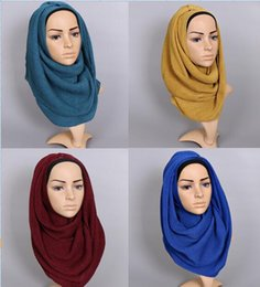Wholesale Popular Grains - Wholesale- 2017 Popular ladies plain wrinkle scarf shawl wrap raised grain drape muslim headband viscose autumn scarves 20 color 10pcs lot