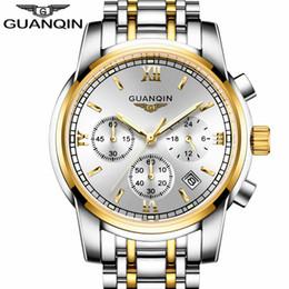 Wholesale Guanqin Watches - Wholesale- relogio masculino GUANQIN Fashion Business Men Luxury Brand Quartz Watch Mens Sport Watches Chronograph Luminous Wristwatch