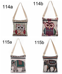Wholesale Female Elephant - 2017 Cartoon cute Elephant Print Messenger Bags Canvas Women Shoulder Bags For Female Casual Canvas Bags Owl Design Crossbody Bag for kids