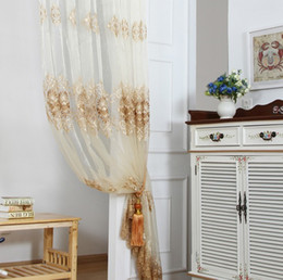 Wholesale Voile Curtains Scarf - Sheer Curtains Luxury Embroidery Floral Willow Tulle Voile Door Curtain Drape Panel Sheer Scarf Valances for Living Room