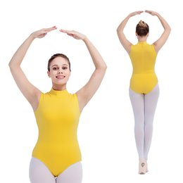 Wholesale Orange Dancewear - Ballet Dancing Leotards Cotton Lycra Turtle-neck Tank Girls Practice Bodysuit Women Basic Dancewear Full Sizes 16 Colors Available
