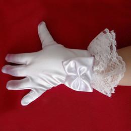 Wholesale Girls Lace Glove - Lovely Flower Girls Gloves Wrist Length Full Finger Satin White Children Gloves With Bow Lace Edge Kids Wedding Gloves 4-12yrs