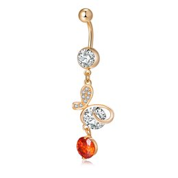 Wholesale Navel Belly Button Piercing Butterfly - 18K Yellow Gold Plated Butterfly AAA+ Cubic Zirconia Long Sexy Body Jewelry Piercing Navel Belly Button Ring for Women BR-214