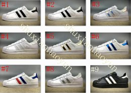 Wholesale Super D - Free shipping Man woman Superstars shoes Sneakers Super Star casual shoes women Shell shoes 36-44