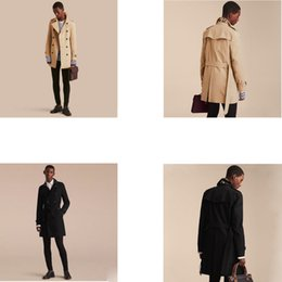 Wholesale Trench Coat Men S Fashion - New Brand Clothing classic Fashion Casual Business Men's Trench coat Double-breasted long pea coat trenchcoat Mens slim fit