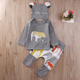 Wholesale Cute Baby Boys Clothing - Newborn Baby Boys Toddler Tops long sleeve T-shirt Long Harem Pants hat 3 pcs suits cotton round collar Outfits Set elephant printed Clothes
