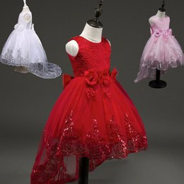Wholesale Knee Length Mermaid Skirt - 2017 summer European and American children's lace children's dress princess skirt tail dress girls wedding dress