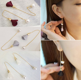 Wholesale cloth chandeliers - Wholesale pearl earrings, elegant ear line long flower earrings, tassel cloth temperament simple earrings, free shipping