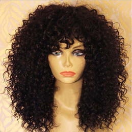 Wholesale Remy Hair Wigs Bangs - Remy Virgin Hair Lace Front Wigs With Baby Hair Brazilian Curly Glueless Full Lace Human Hair Wigs With Bangs For Black Women
