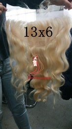Wholesale Blond 12 613 - Brazilian body wave 613 blond Lace Frontal 13x6 Human Hair Full Lace Frontal Baby Hair Around Bleached Knots