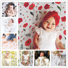 Wholesale Baby Blanket Towels - Ins Newborn Baby Swaddling Blankets Robes Baby Floral Swaddle Wrap Cloth Infants 100% Cotton Towel Wrap Cute Bird Fruit Animal Print BHB17