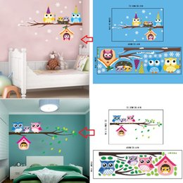 Wholesale baby owl sticker - AW3017AB Christmas Snowflake Owls Printed Wall Stickers Home Decor Branches Bird Owls with Xmas Hats Decal for Baby Kids Shop Window