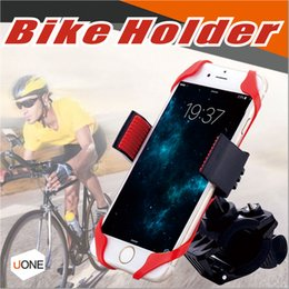 Wholesale Motorcycle Universal Phone Mount - Universal Adjustable Bicycle Cell Phone Holder Cradle Stand Motorcycle Mount phone GPS Navigation 360 Degree Rotation With Rubber Strap