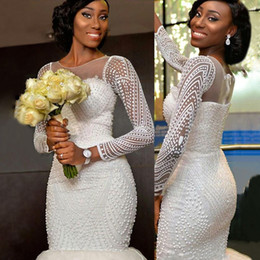 Wholesale Multicolor Tulle - Luxury Beaded South African Long Sleeves Wedding Dresses Mermaid 2017 Sheer Jewel Neck Arabic Vestidos De Novia Real Picture