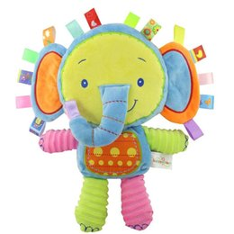 Wholesale Plush Rattle - 5 styles Animals Baby Plush Toys soft Elephant Calm Doll Towel Baby Toys With BB Ring Plush Rattles Toys gift Factory Wholesale