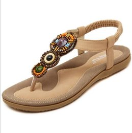 Wholesale Comfortable Sandals Women - 2017 Bohemian Shoes Woman Diamond Comfortable Flat Women Sandals Rubber Hand-Beaded Grass-Roots Style Sandals Size 35-41 G251