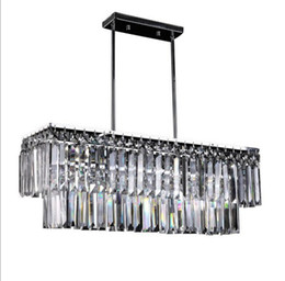 Wholesale Modern Rectangular Pendant Light - New arrived luxury crystal Chandeliers led E14 light base kitchen luster Pendant lamp rectangular crystal stainless steel lamp LLFA