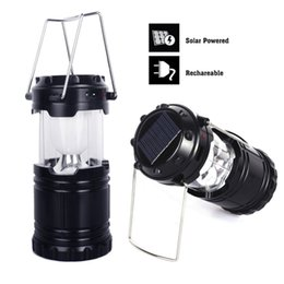 Wholesale Led Garden Lantern Lights - Portable Solar Charger Camping Lantern Lamp Collapsible LED Outdoor Lighting Folding Camp Tent Lamp USB Rechargeable lantern