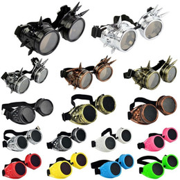 Wholesale Weld 15 - Wholesale-15 Colors Hot New Men Women Welding Goggles Gothic Steampunk Cosplay Antique Spikes Vintage Victorian Glasses EyewearCheap