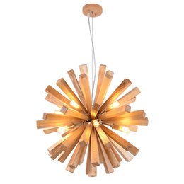 Wholesale Modern Wood Lighting Chandeliers - 53cm 72cm Northern Europe Wooden Vintage Restaurant Cafe Solid Wood Chandelier Creative Individuality Bar LED Pendant lamp light