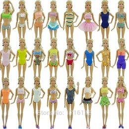 Wholesale Random Bikini - Random 6 x Swimsuits Bikini Swimming Wear Summer Beach Bathing Clothing 6 x Slippers Shoes Clothes For Barbie Doll Kurhn FR Toys