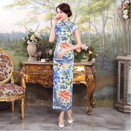 Wholesale Oriental Print Dress - Blue Silk Traditional Chinese Dress Long Cheongsam Qipao Dresses Robe Chinoise Oriental Style Wedding Qi Pao Asian Formal Women