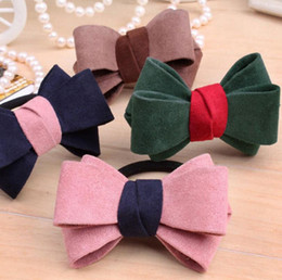 Wholesale High Quality Chiffon Fabric - High quality Fashion new cashmere matte chiffon fluffy bow hair ring hot fashion hair rope flowers FQ019 mix order 100 pieces a lot