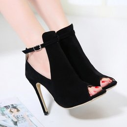 Wholesale European Buckle Boots - Dijigirls European American style The Roman summer Woman's High Heels Sandals Black fashion Thin Heels Sandals Women Cool sandals boots