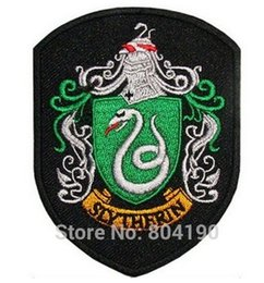 Wholesale House Robes - Harry Potter House SLYTHERIN Crest Emblem TV Movie Embroidered Robe Iron On Patch rock retro applique wholesale dropship