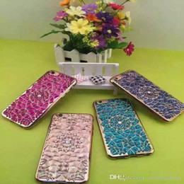 Wholesale Cheap Rhinestones For Cell Phones - Cheap Phone Cases Durian Flower Sunflowers Inlaid diamonds Creative Shell Plating 6 Colors Cell Phone Back Cover