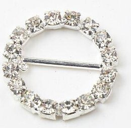 Wholesale Chair Sash Brooch Wholesale - 100pcs lot 20mm Round Rhinestone Crystal Buckles Brooches 14mm Bar Invitation Ribbon Chair Covers Slider Sashes Bows Buckles