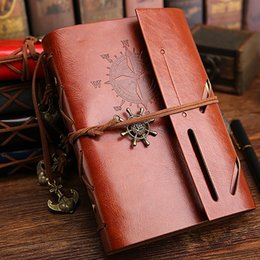 Wholesale Notepad Business Leather - Vintage Pirates Leather Notebook 75 Pages Kraft Paper Notepads Business Diary Books DHL Free Shipping