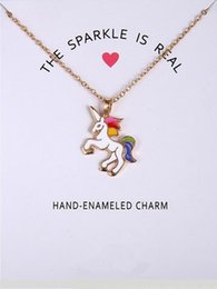 Wholesale Valentines Day Cards New - 2017 New Dogeared Necklace With Card Rainbow Unicorn Colored Glaze Horses Pendant Noble and Delicate Silver Choker Valentine Day Gift