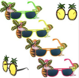 Wholesale Hawaiian Hula - Hawaiian Glasses Tropical COCKTAIL Hula Beach Beer Party Sunglasses Pineapple Flamingo Goggles Night Stage Fancy Party Favors CCA7585 60pcs