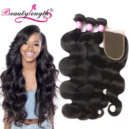 Wholesale Wholesale Chinese Buns - 3pcs Malaysian Body Wave Virgin Hair Bundles Closure 1b Malaysian Hair bundles Bundles With Lace Closure Remy Human Hair With Closure Bun