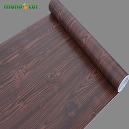 Wholesale Wood Pvc Wall Sticker - 5M Kitchen Wood Grain Self Adhesive Pvc Wallpaper Refurbished Wardrobe Cupboard Door Desktop Furniture Wall Stickers Home Decor