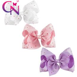 Wholesale Cute Ribbon Bows - 30 Pcs lot 7 inch 2017 Newest Jumbo Hair Bow With Watermelon White Diamond For Cute Girl Handmade Kid Boutique Grosgrain Ribbon Bows