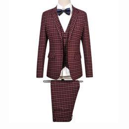 Wholesale Long Sleeve Vest For Groom - 2017 Fashion Men Costume Homme 6XL Plaid Tuxedos For Men Slim Fit Mens Suits Wedding Groom Suits Set (Jacket+Pants+Vest)