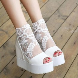 Wholesale Invisible Wedding Dress - 2017 Summer Sweet Lace White Sandals high Platform Wedge sandals invisible height increased peep toe women shoes