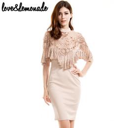 Wholesale Love Lace Dress - Wholesale- Love&Lemonade Lace Sequined Tassels Party Dress Nude TB 9695