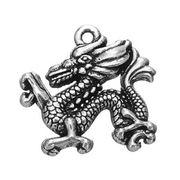 Wholesale Metal Charms Pendants Wings - Vintage Metal Vintage Style Angel Wing & Chinese Dragon Animals Charms Zinc Alloy Pendant For Diy Necklaces Bracelets Making