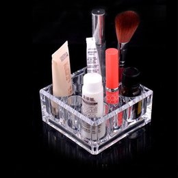 Wholesale Acrylic Square Stand - Fashion Square Recommend Top Seller Clear Acrylic Cosmetic lipstick Storage Box Bright Jewelry Organizer Makeup Holder stand 9*9*4.5cm