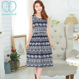 Wholesale Feed Lines - 2604# Printed Cotton Bohemia Style Nursing Long Dress for Maternity Mother 2017 Summer Tank Breastfeeding Clothes Feeding Wear