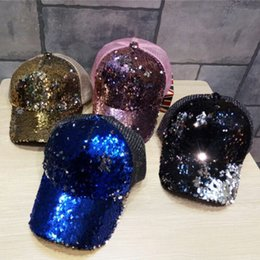 Wholesale Boys Mermaid - New Fashion Mixed Color Unisex Mermaid Sequin Hat Adjustable Kids Ball Cap Home Party Lovely Gift Free Shipping
