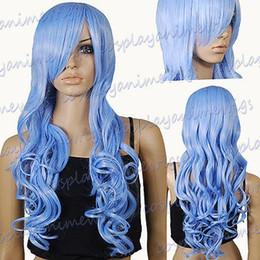 Wholesale Wavy 33 Inch Wig - 33 inch Hi_Temp Series Powder Blue Curly wavy Long Cosplay DNA Wigs