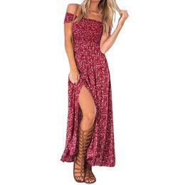 Wholesale Party Tube Dress - Summer Women's Vintage Dress Floral Print Off Shoulder Split Tube Long Party Maxi Dress Beach Dresses